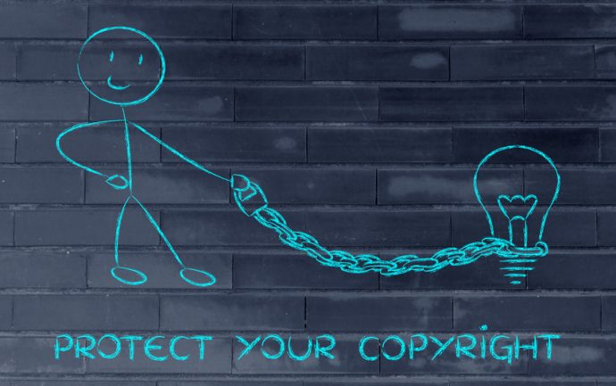 Funny Copyright Owner Man With His Idea On A Chained Leash: Prot